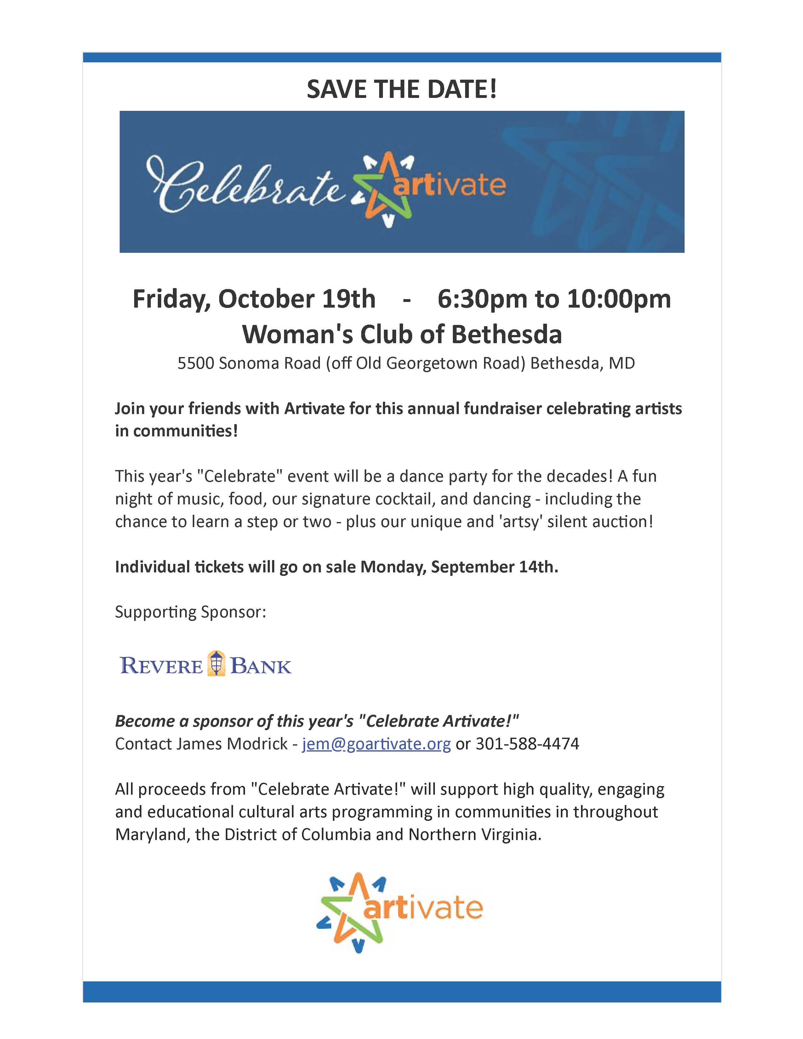 Save The Date For Celebrate Artivate!