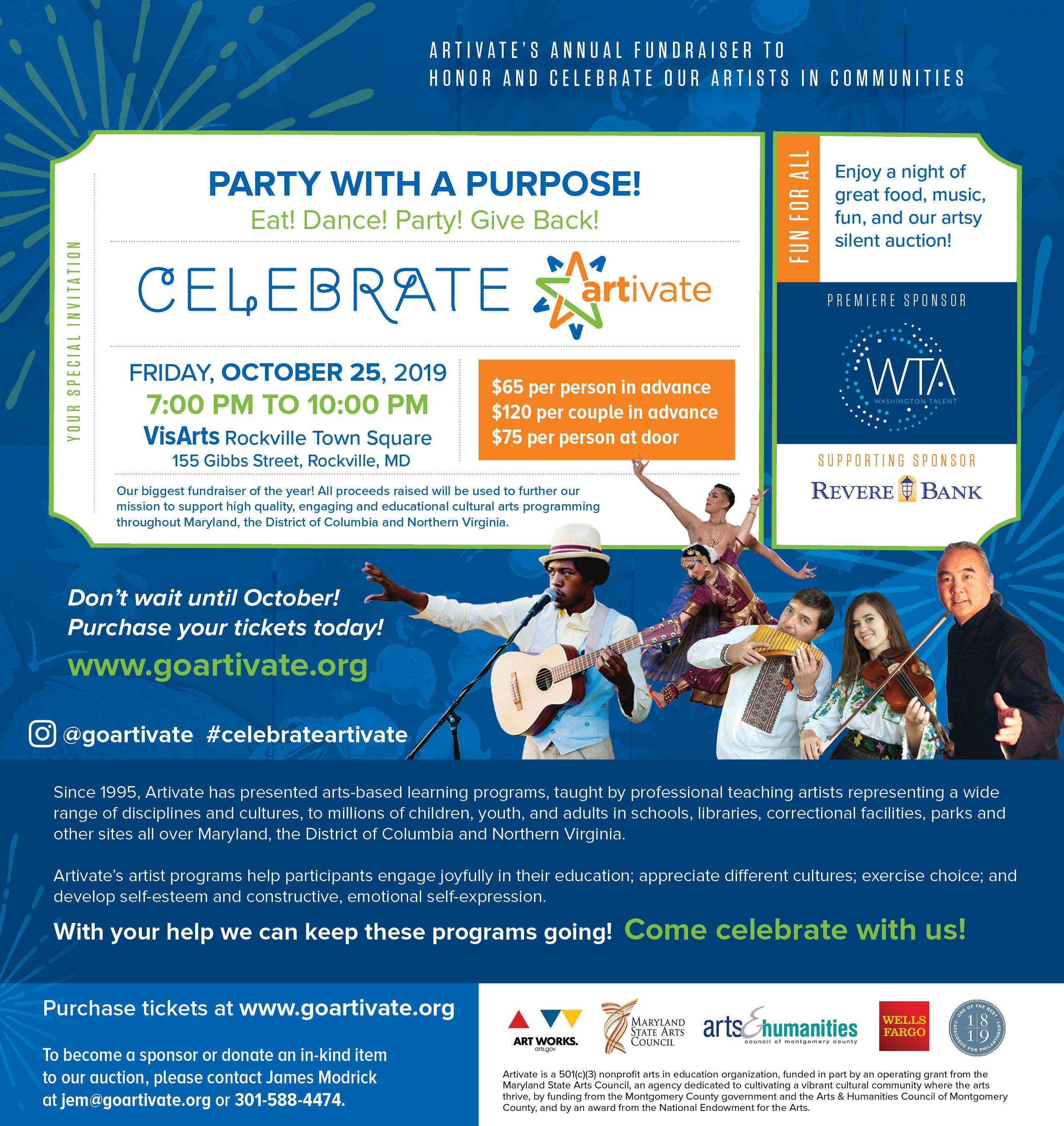 Celebrate Artivate! Tickets On Sale