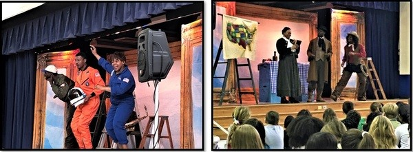 Discovery Theater actors perform scenes from The Great Unknown for students at Forest Knolls Elementary